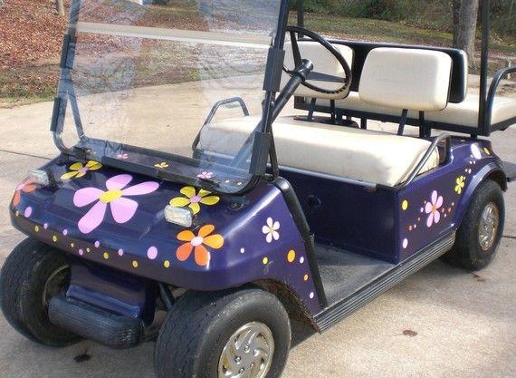 Hippie Flower Power golf cart.