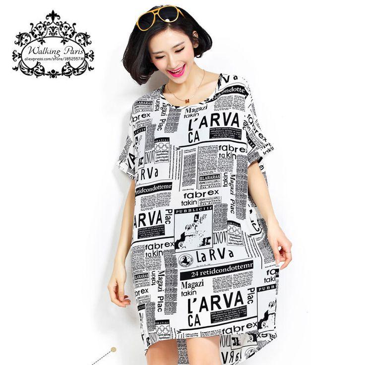 Dmart7deal Plus Size Chiffon Women Summer Style Fashion Clothing Newspaper Letter Print Short Sleeve Dresses European Casual Long T-Shirt
