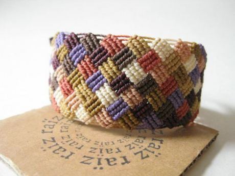 Patchwork Macrame Bracelet Pastel Jewelry Textile Checkered ~ Handwoven Bohemian Hippie Chic Friendship Bracelet ~ by raïz | Macrame