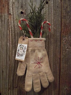 Pair-of-Primitive-Mitten-Ornaments-with-Cedar-and-Chenille-Candy-Canes