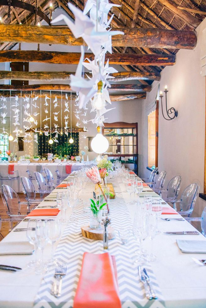 I love the colors and decor of this wedding.             1000 paper cranes // Langkloof Roses Wedding, Cape Town - Claire Thomson Photography