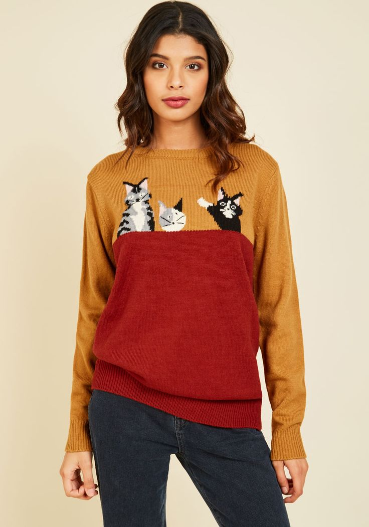 Cat's All, Folks Sweater. Say goodbye to your so-so sweaters, because this pullover is your bold, new go-to! #red #modcloth