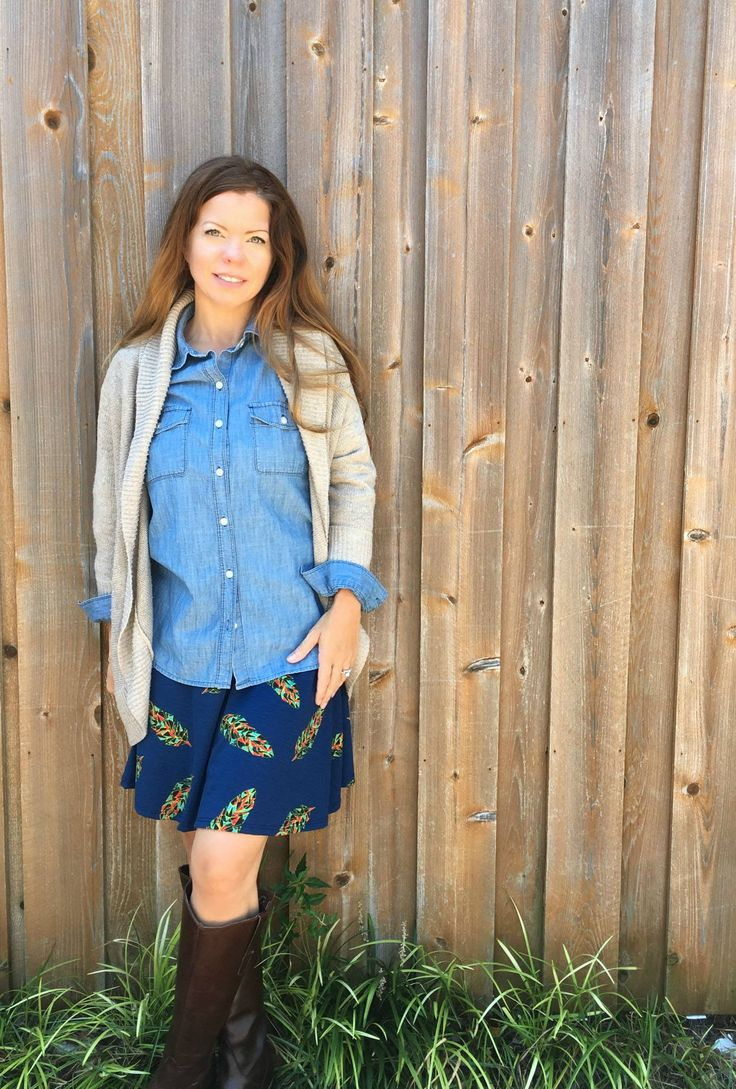Transition your lularoe azure skirt to fall! Pair it with denim & a cardi!! ~LuLaRoeCassidyKahl