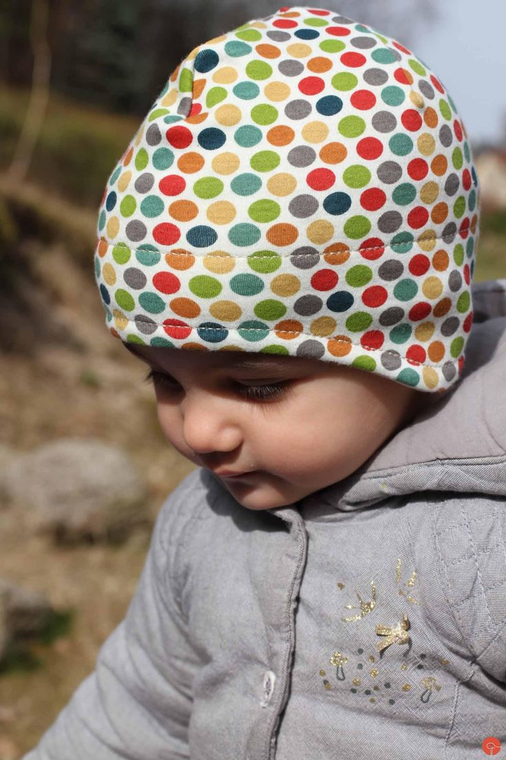 Handmade sewed spring kids jersey hat, made from organic cotton
