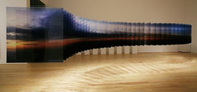 Nobuhiro Nakanishi - Layer Drawing   Tokyo sunrise 27. Inkjet print on film, Acrylic plastic, 101.2x100cm x 27 sheets (2012)