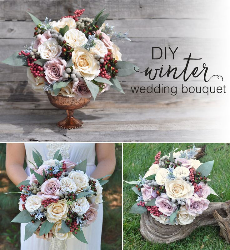Planning a winter wedding?  Designed by Holly's Wedding Flowers, with faux flowers and preserved berries from Afloral.com, this bridal bouquet is the perfect project for the DIY bride!