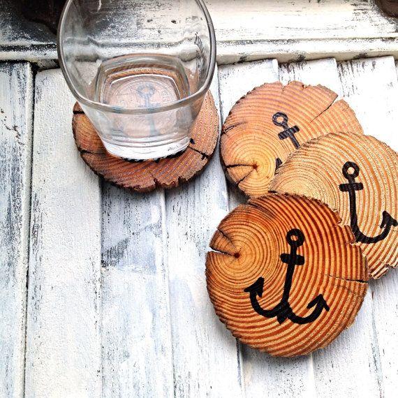 Reclaimed Beach Wooden Rustic Wood Coasters-Anchor Coasters-Drift Wood Coasters-Wooden Coasters-Rustic Coasters-Beach Wood Coasters on Etsy, $24.95