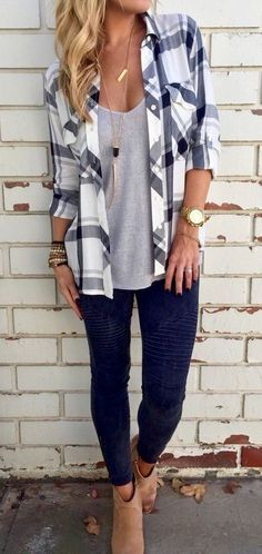 #casualoutfits #spring | Plaid Shirt + Grey Tee + Black denim