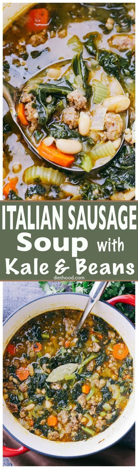 Italian Sausage Soup with Kale and Beans - Hearty and incredibly delicious soup prepared with Italian Sausage, onions, garlic, kale, and beans! #SuperSoups!
