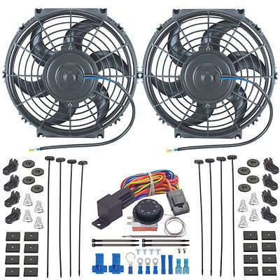 """Pair 10"""" Inch Electric Radiator Fan-S Adjusting Temperature Thermo Controller"""