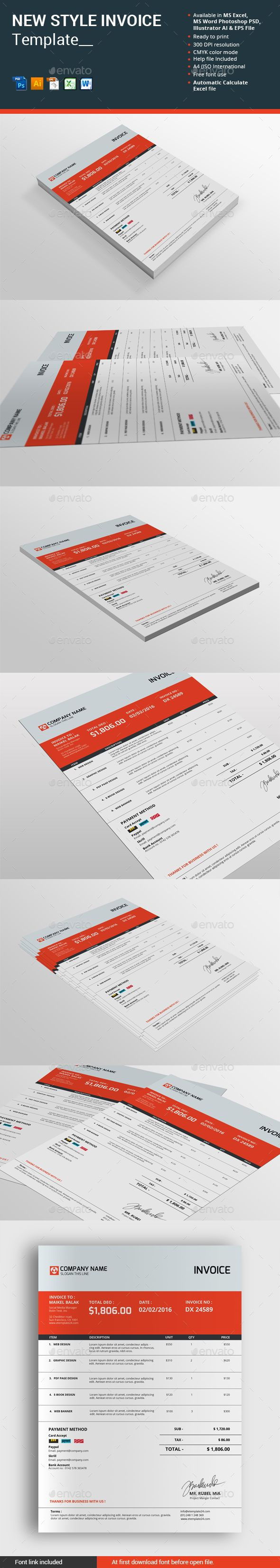 24 best design | invoices images on pinterest | invoice template, Invoice templates