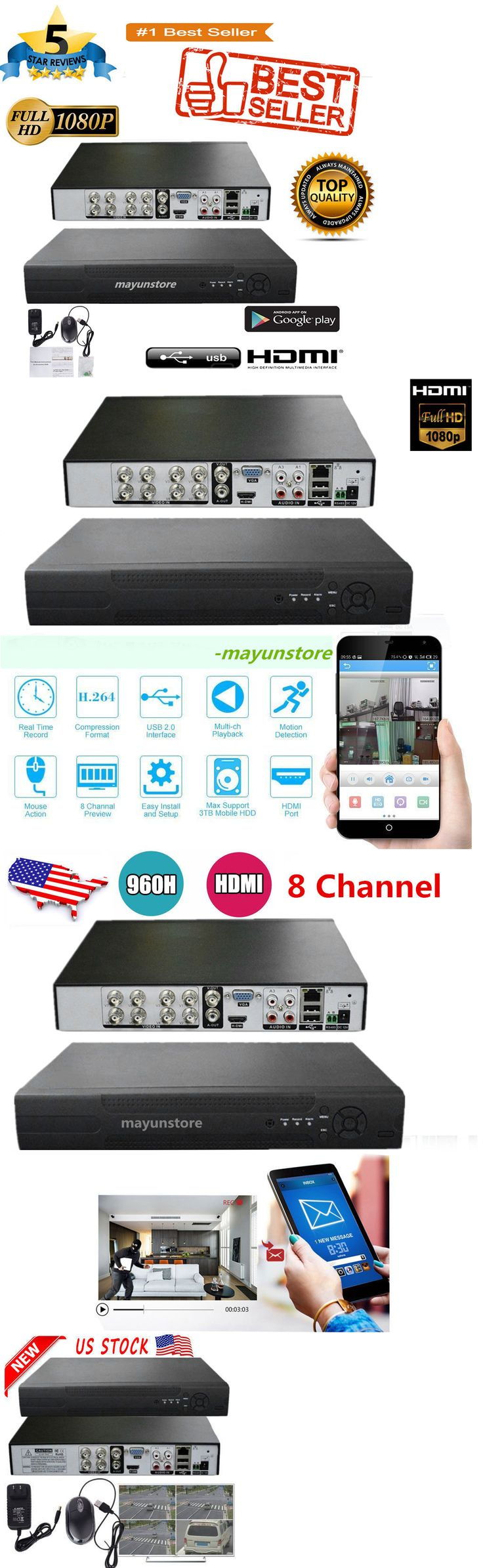 Digital Video Recorders Cards: 8Ch H.264 D1+Hdmi Digital Video Recorder Network For Home Cctv Security Camera BUY IT NOW ONLY: $32.79