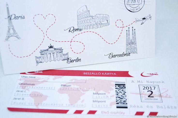 Beszállókártya esküvői meghívó - meghívó, repülőjegy esküvői meghívó, repülős esküvői meghívó, repjegy esküvői meghívó, wedding card