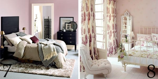 Grey and black furniture against smoky pastel walls decorated in paints from Dulux; White French-style furniture, floral prints from Harlequin and a summery single colour scheme