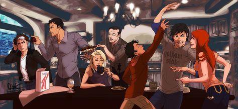 Nananananana BREAKFAST by *Harseik on deviantART Jason Todd, Bruce Wayne, Selina Kyle, Alfred Pennyworth, Tim Drake, Dick Grayson and Barbara Gordon