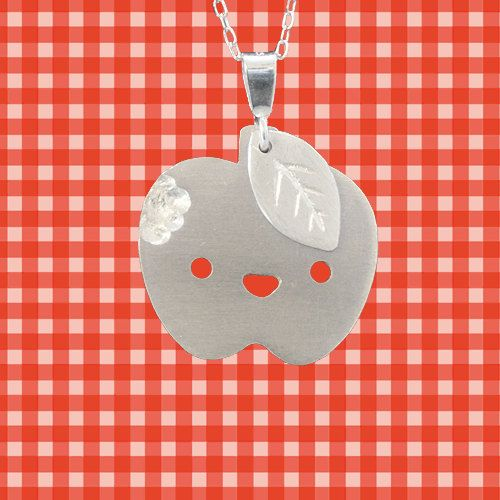 Sterling Silver Newton the Apple Pendant and Necklace. $45.00, via Etsy.