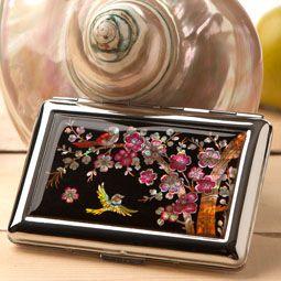 Mother of Pearl Cigarette Case with Korean Plum Flower Design