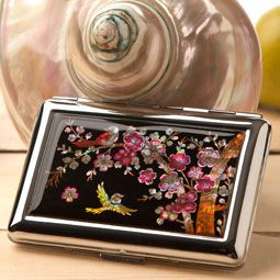Mother of Pearl Cigarette Case with Korean Plum Flower Design