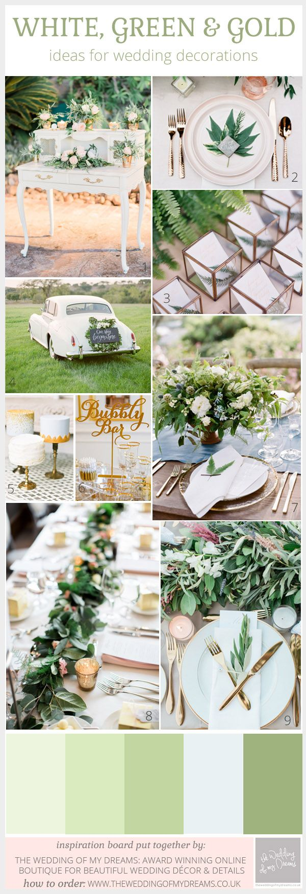 Green, White And Gold Wedding Ideas and Inspiration                                                                                                                                                     More