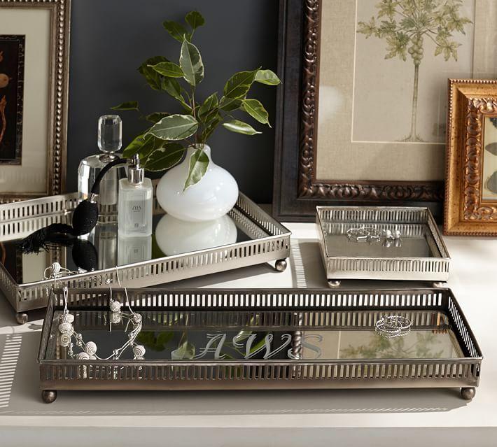 Mirrored Dresser-Top Trays