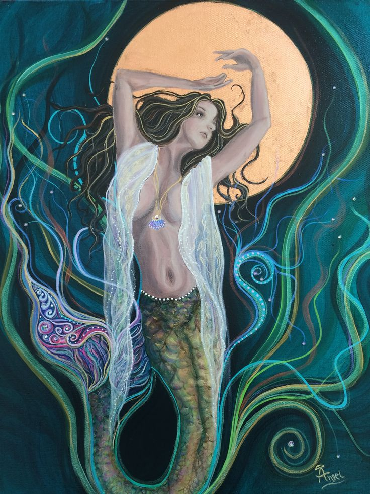 Blood Moon Goddess. Painting by Angel Fritz. Angel4joy.com