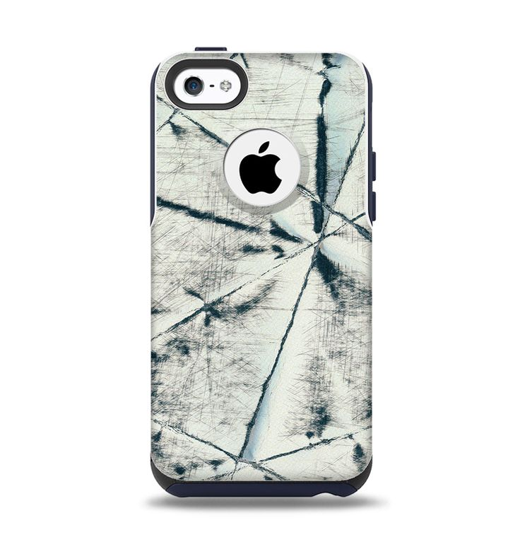 The White Cracked Woven Texture Apple iPhone 5c Otterbox Commuter Case Skin Set