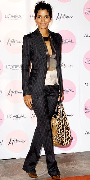 Halle Berry -pinstripe suit + Jimmy Choo leopard print bag