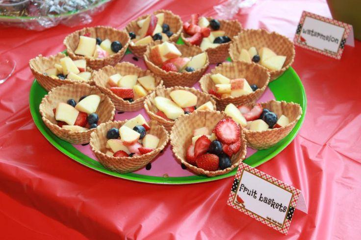fruit baskets (fruit inside ice cream cone bowls)