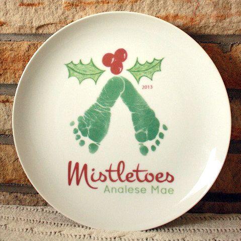 Mistletoe Footprint Plate cookies for santa by MyForeverPrints