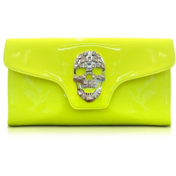 Philipp Plein Crazy Skull Leather Clutch ($479) ❤ liked on Polyvore featuring bags, handbags, clutches, accessories, bolsas, neon yellow, genuine leather handbags, yellow leather purse, yellow leather handbags and handbags clutches