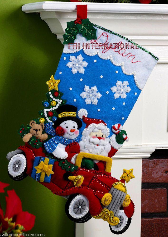 "Bucilla Holiday Drive ~ 18"" Felt Christmas Stocking Kit #86451 Santa Frosty Car"