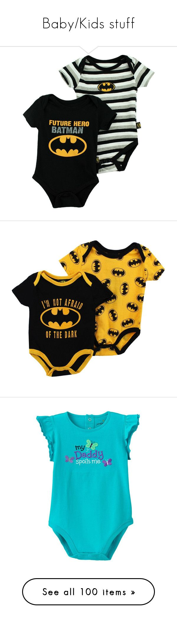 """Baby/Kids stuff"" by cissylion ❤ liked on Polyvore featuring baby, kids, baby boy, baby boy clothes, baby clothes, batman, baby stuff, baby girl, baby girl clothes and baby onesies"