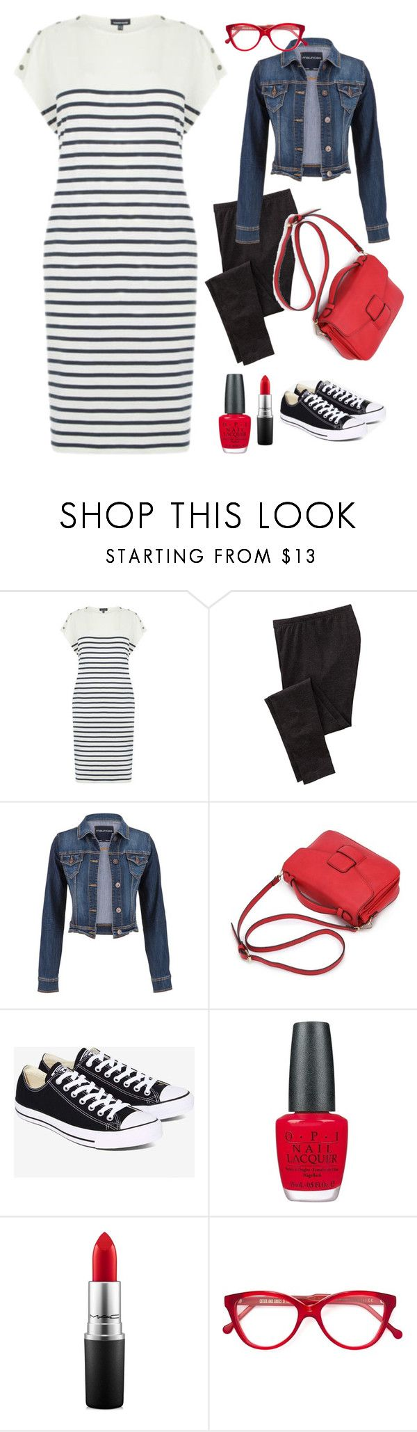 """Striped Shirt Dress"" by irene-ireen ❤ liked on Polyvore featuring Warehouse, Old Navy, maurices, Converse, OPI, MAC Cosmetics, Cutler and Gross and shirtdress"