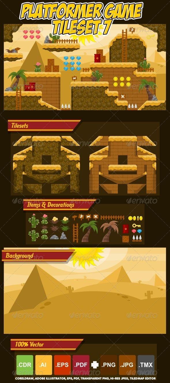 Platformer Game Tile Set 7 - Objects Vectors