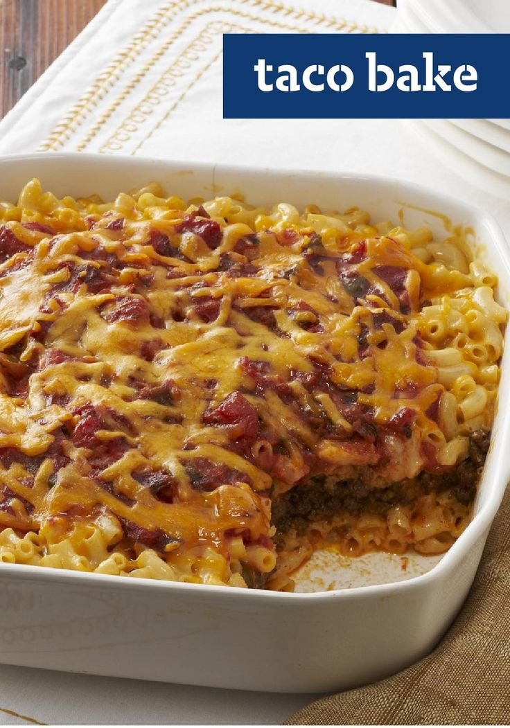 Taco Bake -- We had a hunch about these two. And sure enough, fireworks. Ooey-gooey mac and cheese pairs up with the Tex-Mex flavors of tacos for a recipe match made in heaven.