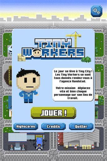 "Ecran d'accueil du jeu mobile Randstad ""Tiny Workers"""