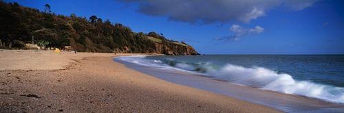 Waves breaking on the coast, Blackpool Sands, South Hams, Devon, England | designyourwall.com
