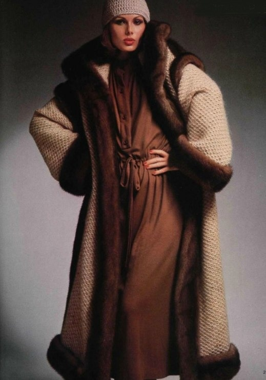 Dior cashmere sweater coat trimmed in sable, 1976.