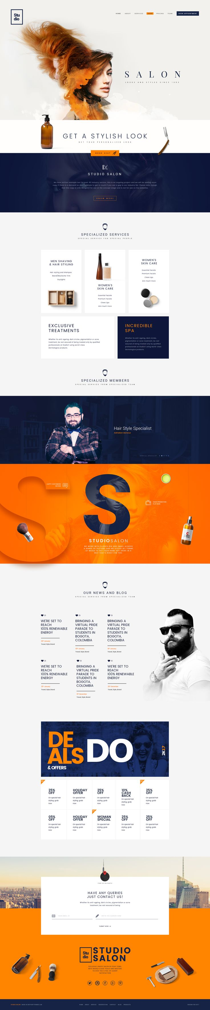 Studio Salon | A Modern Salon And Business Psd Template #salon #shop #style • Download ➝ https://themeforest.net/item/studio-salon-a-modern-salon-and-business-psd-template/19734582?ref=pxcr