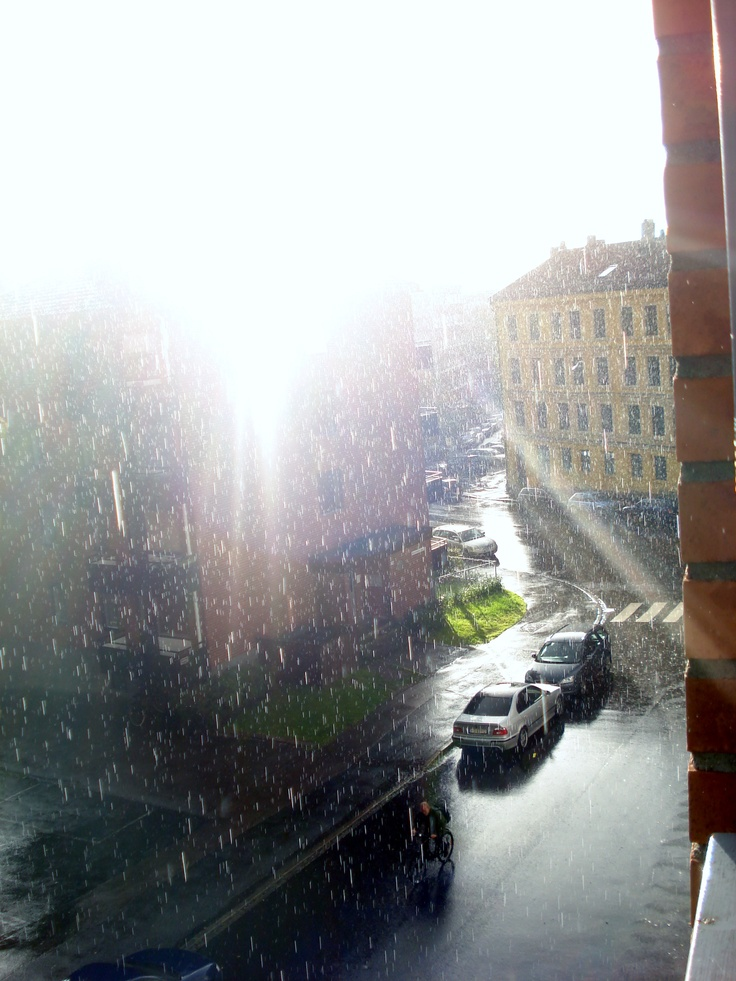 beautiful - sun and rain. outside my apartment in oslo.  photo: katinka hellum.
