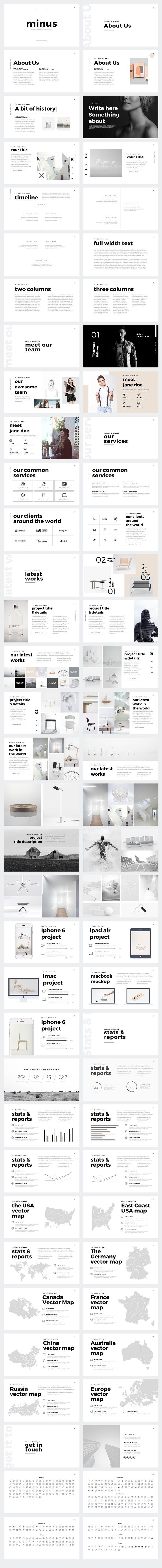 56 best presentation design inspiration images on pinterest page minus minimal powerpoint template toneelgroepblik Images