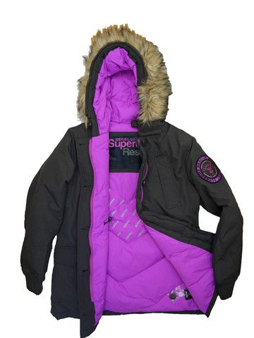 Superdry Womens Everest Coat - Soft Black – Last one Size XL - Super Christmas Gift - Free UK P&P