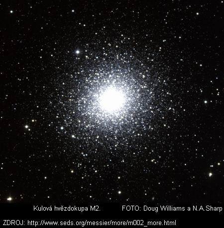NGC 7089,  Objekt: M2 Souhvězdí: Vodnář Typ objektu: Kulová hvězdokupa NGC: 7089 Hvězdná velikost: 6,5 mag Rektascenze: 21h 33m 30s Deklinace: -00° 49' Vzdálenost: 11,5 kpc (37,5 kly) Průměr: 12,9 úhlových minut Messierův objekt č. 2 dosahuje průměru přibližně 43 pc, obsahuje asi 150.000 hvězd a je jednou z nejbohatších kulových hvězdokup. Se vzdáleností 11,5 kpc leží za středem Galaxie.