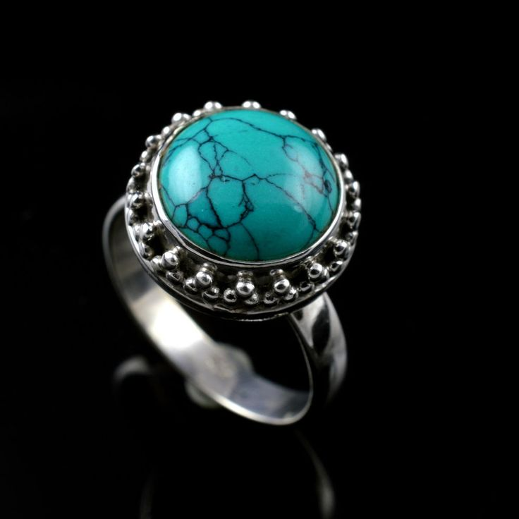 925 Sterling Silver Natural Turquoise Gemstone Handmade Ring Size 5.75 US #Handmade #Cluster #Party