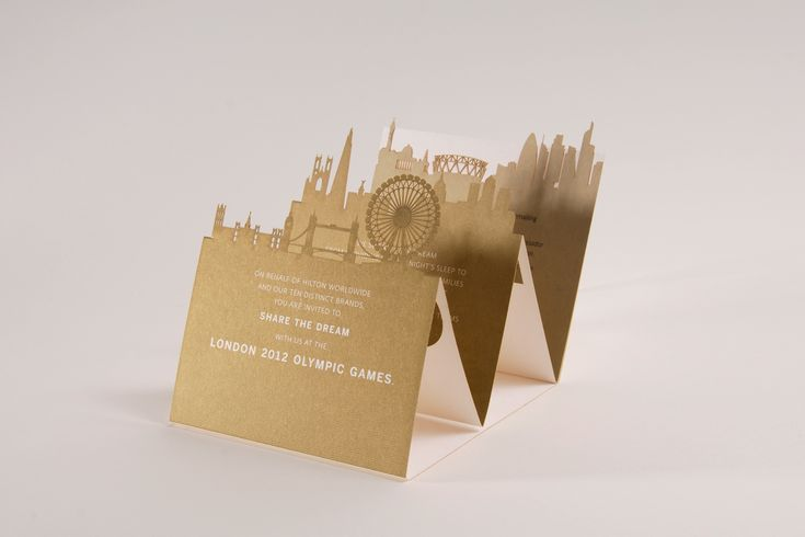 Laser cut, Olympic VIP invite. Love the layering of London skyline and the delicate details.
