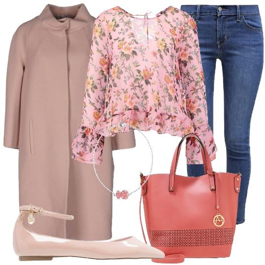 Un look romantico, dall'aria giovanile, indossando sempre il nostro caro e amato jeans, in questo caso stretto. Abbiniamo la bella camicia romantica a fantasia floreale e a sfondo rosa, il cappotto rosa, in flanella, a collo alto, un paio di scarpe basse, rosa, in fintapelle, ad effetto vernice, la borsa ampia, in fintapelle e il bracciale in argento con ciondolo smaltato.
