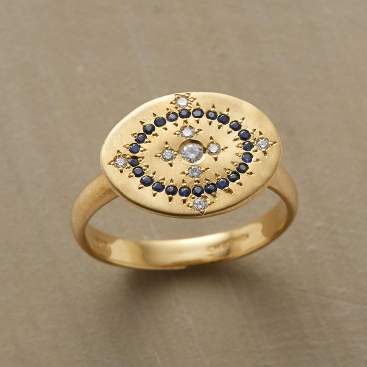 LAYLA RING--This diamond & sapphire cartouche ring is a nod to the forms and technique of ancient mosaics. Adel Chefridi inlays sparkling diamonds and midnight blue sapphires within a cartouche of brushed 18kt gold. Handmade in USA.
