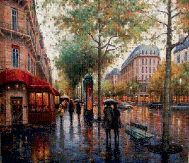 Дождливая осень в городе, город, улица.осень.люди