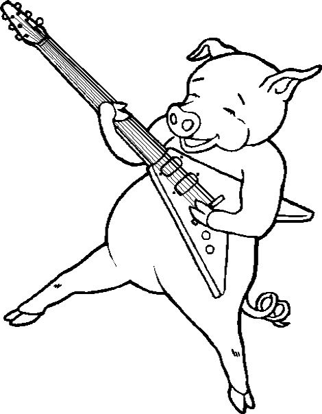 Pig Play The Guitar Coloring Pages