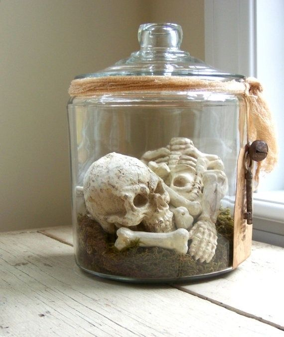 I made one of these for halloween  1 old time candy jar 1 plastic skull 1 gauze soaked in tea A little moss Equals one spooky halloween decorations